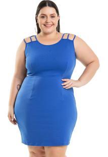 Vestido Justo Em Ponto Roma Azul Miss Masy Plus