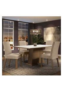 Conjunto Sala De Jantar Madesa Flavia Mesa Tampo De Madeira Com 4 Cadeiras Rustic/Branco/Imperial Rustic/Branco/Imperial