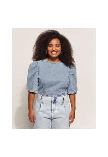 Blusa Jeans Feminina Cropped Marmorizada Manga Bufante Decote Redondo Azul Claro