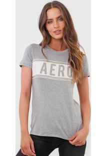 Camiseta Aeropostale Lettering Cinza
