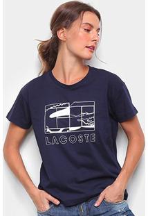 Camiseta Lacoste Jacaré Feminina - Feminino-Azul