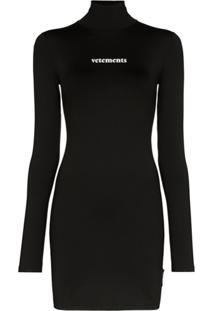 Vetements Vestido Mini Com Estampa De Logo - Preto