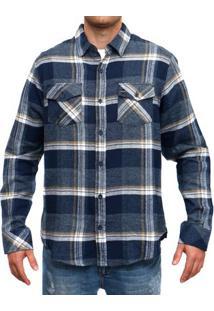 Camisa Blanks Co Flanela Xadrez Masculina - Masculino-Azul