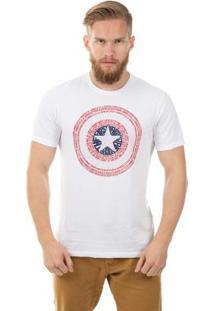 Camiseta Estampa Centralizada Branco Marvel