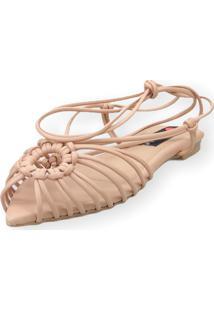 Sandalia Love Shoes Rasteira Bico Folha Amarração Tirinhas Nude
