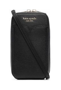 Kate Spade Porta-Moedas Granulado Com Placa De Logo - Preto