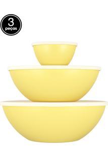 Saladeiras 3 Pçs Com Tampa Essential Amarelo Coza