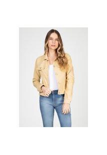 Jaqueta Jeans Tipo Moletom Clássica Bloom Caqui