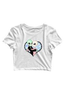 Blusa Blusinha Feminina Cropped Tshirt Camiseta Aliens Casal Coração Branco