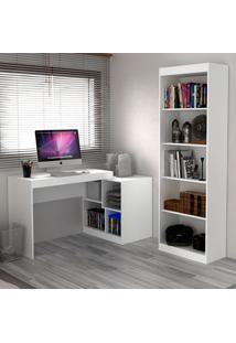 Escrivaninha E Estante Com 6 Prateleiras Para Escritório-Ho-2959-Hecol - Branco
