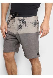 Bermuda Hang Loose Boardshorts Hibiscus Masculina - Masculino-Marrom