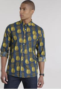 Camisa Estampada De Abacaxis Azul Marinho