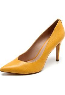 22cb96011b ... Scarpin Couro Jorge Bischoff Texturizado Amarelo