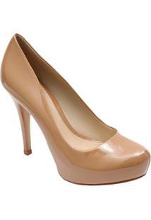 Sapato Meia Pata Envernizado- Bege- Salto: 11,5Cmschutz