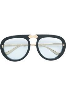 Gucci Eyewear Óculos De Sol Aviador Dobrável - Preto