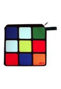 Necessaire Neoprene Cubo Mágico Game Nostalgia Bolsinha Com Zíper Geek Clássico