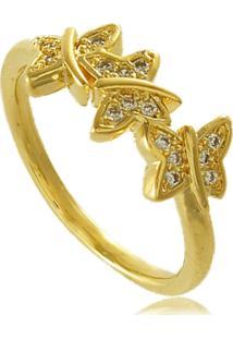 Anel Borboletas Com Detalhes Em Zircônias 3Rs Semijoias Dourado - Tricae