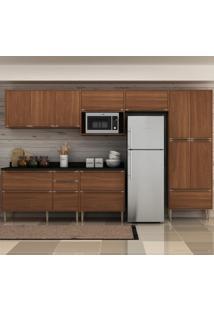 Cozinha Compacta 13 Portas 4 Gavetas 5474T Nogueira/Malt - Multimóveis