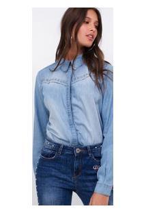 Camisa Jeans Com Tachas