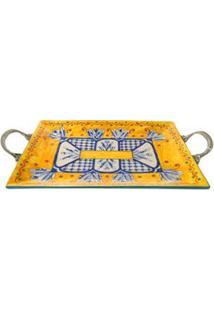 Bandeja Quadrada Decorativa Btc Em Cerâmica Com Hastes 6,5 X 45,5 X 26 Cm - Azul/Amarelo