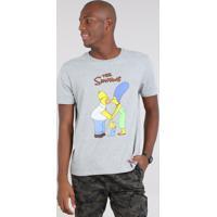 f458663eb Camiseta Masculina Os Simpsons Manga Curta Gola Careca Cinza Mescla