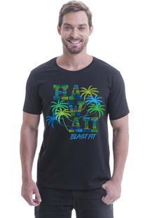 Camiseta Longline Blast Fit Preto Hawaii