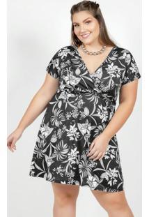 Vestido Floral Com Transpassse Plus Size