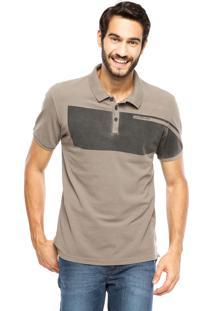 Camisa Polo Calvin Klein Listra Marrom