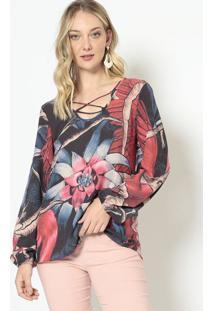 Blusa Com Tiras Frontais - Azul Marinho & Vermelha -Morena Rosa