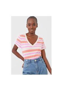 Blusa Gap Listrada Bege/Rosa