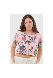 Camiseta Cropped Lança Perfume Floral Rosa