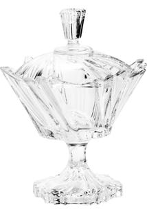 Bomboniere De Cristal Com Pé E Tampa 13X16.5Cm Ikaro Bohemia