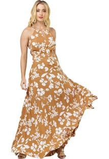 Vestido Mx Fashion Longo Estampado Veranice Caramelo