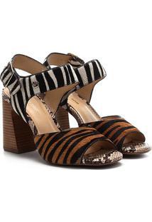 Sandália Couro Bottero Pelo Animal Print Zebra Salto Alto Feminina - Feminino-Zebra
