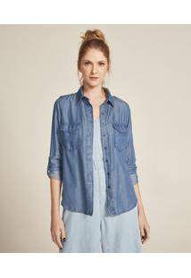 Camisa Jeans Feminina Com Bolsos E Martingale Manga Longa Azul Médio