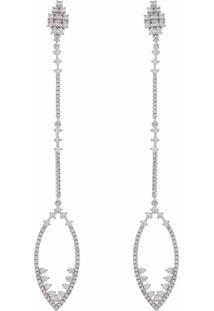 Brinco Narcizza Pêndulo Longo Cravejado Com Zircônia Cristal Banhado No Ródio Branco