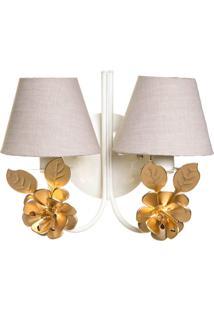 Arandela 2 Lã¢Mpadas Flores Grandes Douradas Quarto Beb㪠Infantil Potinho De Mel Dourado - Dourado - Dafiti