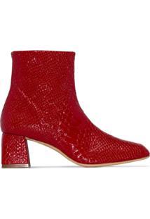 Kalda Ankle Boot Com Efeito Pele De Cobra - Vermelho