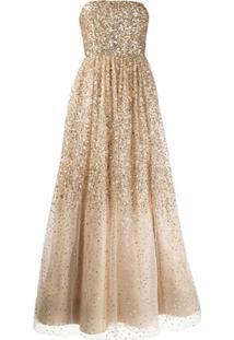 Alice+Olivia Vestido Evasê Longo De Seda Com Bordado - Dourado