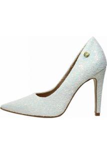 Scarpin Week Shoes Salto Alto Glitter Branco