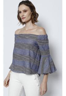 Blusa Ciganinha Listrada Com Elástico- Azul & Off Whitetvz