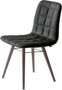 Cadeira Quadra Assento Estofado Linho Preto Com Base Tabaco - 46883 - Sun House