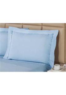 Fronha Premium Plumasul Percal 233 Fios Sky Blue Azul - 50 Cm X 1,50 M