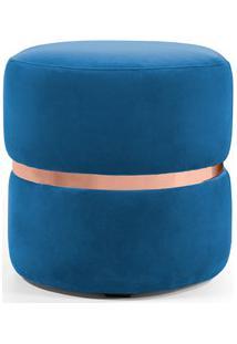 Puff Decorativo Com Cinto Rosê Round B-170 Veludo Azul - Domi