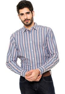 Camisa Wrangler Premium Azul/Laranja