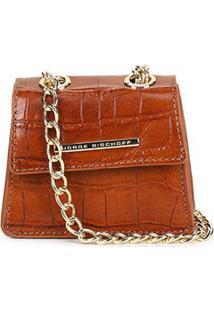 Bolsa Couro Jorge Bischoff Mini Bag Croco Alça Corrente Feminina - Feminino-Caramelo