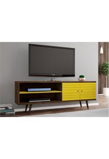 Rack Para Tv Até 60 Pol. 160 Cm Onix Madeira Rústica/Amarelo - Bechara