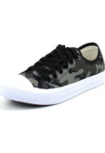 Tenis Tag Shoes Lona Estampada Preto Militar