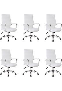 Conjunto Com 6 Cadeiras De Escritório Diretor Giratórias Cleaner Branco