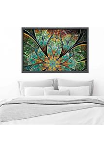 Quadro Love Decor Com Moldura Flor Vitral Verde Grafitti Metalizado Grande